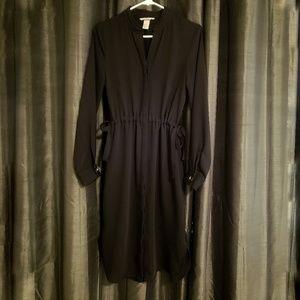 H&M Black Midi Button Up Dress